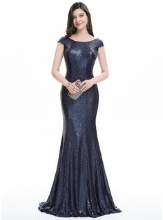 Trumpet/Mermaid Scoop Neck Sweep Train Zipper Up Sleeves Short Sleeves No Dark Navy Winter Spring Summer Fall General Plus Sequined Hight:5.7ft Bust:32in Waist:24in Hips:35in US 2 / UK 6 / EU 32 Evening Dress