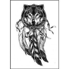 Tatouage éphémère tête de loup attrape rêve                                                                                                                                                                                 Plus