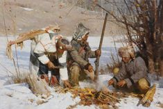 Z.S. Liang Art | Assiniboin Hunters 34 x 50 inches