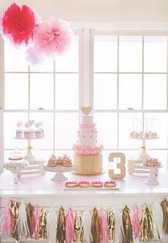 gold glitter and pink 3rd birthday party dessert table