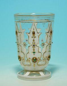 Biedermeier Overlay Beaker with Glass Diamonds 1840