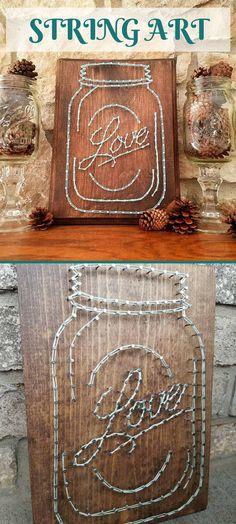 Love this simple Mason Jar String Art. Would make a great gift! Custom made for a housewarming gift! A twist on the Mason Jar madera. Can be customized (color).Love Mason Jar String Art #ad #homedecor #masonjar #stringart
