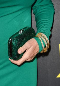 The color of envy: Catherine Bach's clutch. We want it.