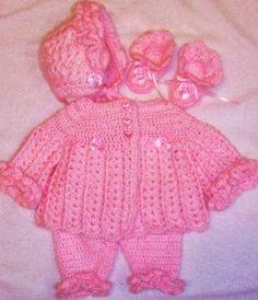 Crochet Baby Girl Ruffles Sweater/Leggings Set Layette Perfect For Baby Shower Or Take Me Home Gi