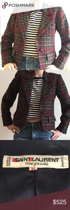 """Yves Saint Laurent 1970s vintage blazer YSL 1970s Plaid blazer. Lined in navy silk. Shoulder pads. 2 hip pockets. Measurements: sleeve length 24.5"""" from shoulder, length 23"""", bust 19"""". Jacket has two  small weights sewn into bottom front to keep shape. Yves Saint Laurent Jackets & Coats Blazers"""