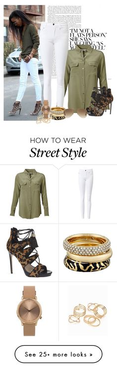 """Street Chic"" by dfashongrl on Polyvore featuring Equipment, Carvela, Michael Kors, JFR, Topshop and Ray-Ban"