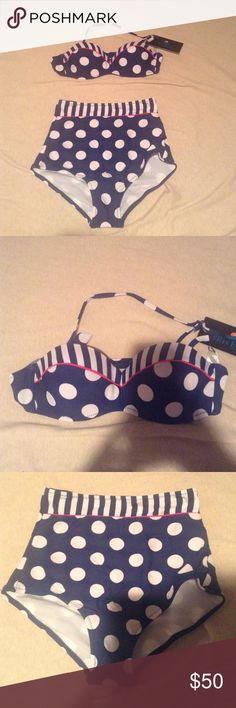 NWT Nautical High Waisted Bikini Adorable, never worn high waisted bikini. Navy with stripes, polka dots, and pink accents. Padded top with tie back and adjustable halter. Hygiene lining still in bottoms. Would fit XS or S best. Placed in Vineyard Vines for exposure. Vineyard Vines Swim Bikinis