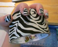 Hey Girls. Next time you get a manicure be sure to bring a roll of your favorite duct tape design. Who doesn't want your duct tape to match your nails or was it...your nails to match your duct tape??