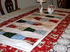 """Christmas Tumbler Table Runner -quilt Top (approx 24""""x48&quot ..."""