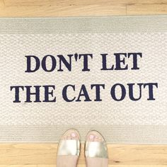 On a simple mission to make your day a little less stressful and your pets a little safer by making dont let the cat out or dont let the dog out the last thing you see before you walk out the door! Options: 20x34 inches Single Border: slightly lighter neutral shade with darker beige border  Variations: Choose cat, dog or pick your own pet!  About: All mats are made in the USA and hand painted in Chicago, IL Size: 20x34 Material: Olefin Type: Indoor Area Rug / Mat- Perfect for keeping indoors…