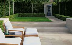Cromwell indigenous stone garden paving in an elegant buff colour, expertly quarried in Northern England - view photos and read more. Formal Garden Design, Contemporary Garden Design, Landscape Design, Contemporary Classic, Garden Paving, Garden Stones, Modern Landscaping, Backyard Landscaping, Small Gardens
