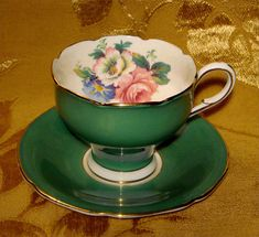 PARAGON GREEN CUP & SAUCER FLORAL ROSE GOLD TRIM MADE IN ENGLAND
