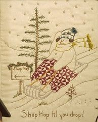 Shop Hop Til You Drop-Quilting Snowladies-Chickadee Hollow Hand embroidery designs to embellish your quilting creativity! Machine Embroidery Patterns, Hand Embroidery Designs, Embroidery Applique, Cross Stitch Embroidery, Quilt Patterns, Stitch Patterns, Square Patterns, Christmas Applique, Christmas Embroidery