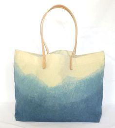 Indigo Dyed Mountain Range Tote Bag by Juniper & Fir