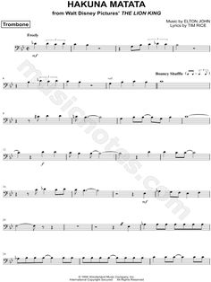 """Hakuna Matata - Trombone"" from 'The Lion King' Sheet Music (Trombone Solo) - Download & Print"
