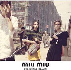 Miu Miu Fall 2015 campaign   SUBJECTIVE REALITY  Busy Sidewalk, Saturday afternoon, New York, NY Maddison Brown, Hailey Gates by Steven Miesel