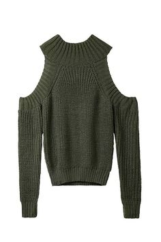 """""""Miah"""" Bare Shoulders Cable Knit Sweater (4 colors available)"""