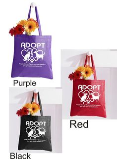 Printed Tote bag Adopt typographic tote / Cotton Canvas by RCTees