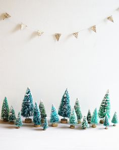 Miniature christmas trees #bluechristmas #christmastrees