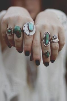 turquoise and silver.