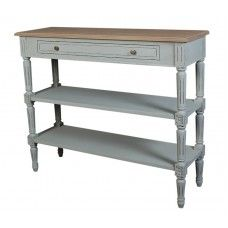 Valerie Console Table 2 Shelf, Dimensions: x x Valerie is a traditional style Hand painted French collection, with it's hand carved flower carvings and it's beautiful turned legs. Hand painted in stone grey and given a distressed fi Wire Side Table, Gray Console Table, Small Country Homes, French Collection, French Grey, Farmhouse Table, Entryway Tables, Home Furniture, Shelves