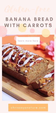 Who wouldn't like a piece of delicious and soft banana bread? Banana bread is one of those recipes that you just need to bake! This Gluten-free banana bread with carrots - vegan spring recipe is so delicious and very easy to make. The full recipe for this Gluten-free & vegan banana bread with carrots is very tasty and perfect for dessert or healthy breakfast. #bananabread #springrecipe Banana Carrot Bread, Gluten Free Banana Bread, Healthy Banana Bread, Chocolate Chip Banana Bread, Banana Bread Recipes, Vegan Gluten Free, Those Recipe, Sweet Desserts, Carrots