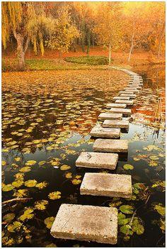 Autumn, Stepping stone at lake, Lipnik Park in Ruse, Bulgaria