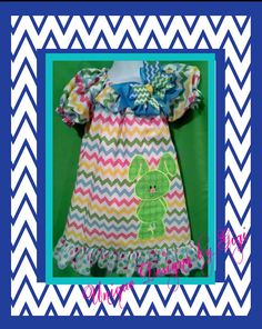 Girls Chevron Easter dress pastel colors with applique Bunny, $32.00