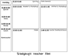 Day-At-A-Glance Lesson Plan template {printable}