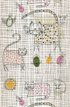 John Rombola 'Cat and Canary' for Patterson/Harben papers, 1959 Picture: Courtesy of the cooper Hewitt Museum, New York Artists' textiles: a masterpiece in every home - Telegraph