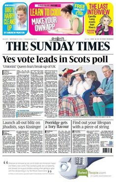 """""""Yes vote leads in Scots poll"""" pic.twitter.com/yOFxr0GiwW"""