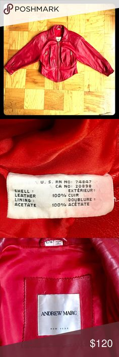 """😱😍VINTAGE ANDREW MARC LEATHER COAT‼️❤️💋 🌹PREOWNED GREAT CONDITION ANDREW MARC VINTAGE RED LEATHER COAT‼️THIS COAT WAS VERY WELL TAKEN CARE OF💋Signs of wear are zippers fading (gold), and VERY MINIMAL SIGNS OF WEAR ON LEATHER‼️NO TEARS, NO RIPS❤️For being over 10 years old I THINK THAT IS AWESOME😍CROPPED IN WAIST AREA FOR A CUTE FITTED LOOK🤗Pocket on each side💗 😻Size Large  😻22 1/2"""" Top to Bottom 😻Bust 38"""" Around  😻Arm 21"""" 😻Waist 16 1/2 """" Across Front Andrew Marc Jackets & Coats"""