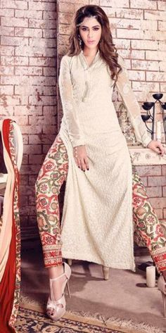 Beige Resham Work Long Straight Suit With Georgette Material