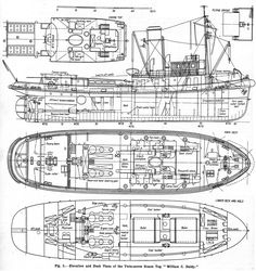 "Elevation and deck plans of the twin-screw steam tug ""William C Daldy"""