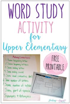 Read this post to learn about a word study activity for upper elementary and grab the free printable to have your students complete the activity.