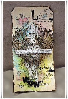Project created by More Than Words challenge participant Jorunn Langas inspired by the January 2020 Mini Challenge using the mini word WOW. Word Challenge, Happy Today, Mystery Minis, You Are Invited, More Than Words, Badge, How To Find Out, Congratulations, Mixed Media