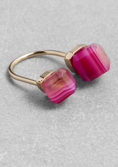 & Other Stories | Diamond Open Ring | Pink
