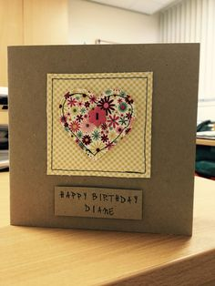 Handmade machine sewn personalised birthday card made using pretty fabrics and a flower button Cricut Birthday Cards, Homemade Birthday Cards, Personalized Birthday Cards, Homemade Cards, Fabric Postcards, Fabric Cards, Paper Cards, Diy Cards, Patchwork Cards