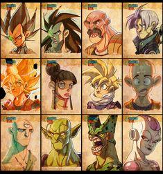 Dragon Ball Face Sketches by Javas #Vagate #Raditz #Napa #Trunks #Goku #ChiChi #Gohan #Kuririn #Tenshinhan #Piccolo #Cell #Freeza #DragonBall #DragonBallZ #DBZ
