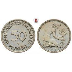 Bundesrepublik Deutschland, 50 Pfennig 1950, G, vz+, J. 379: Kupfer-Nickel-50 Pfennig 1950 G. J. 379; vorzüglich + 380,00€ #coins