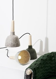 A pendant light (actually, a little light that you could hang/place anywhere) called Fungus by the young Danish designer, Kristina Kjær. Wool shade, an ash handle and a black fabric-covered cord.