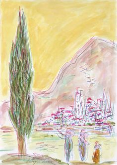 Cypress, three people, river, city and mountains