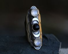 Once in a Blue Moon - size 9 - moonstone, onyx and sterling silver ring