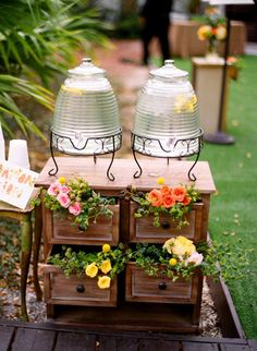 bees hive drink dispensers & florals coming out of furniture - simple and pretty