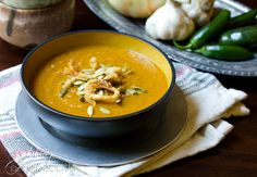Most pumpkin soup recipes are loaded with cream, but this Spicy Pumpkin Soup is a healthy soup recipe, bold and rich with southwest flavor. It's gluten free Spicy Pumpkin Soup, Healthy Pumpkin, Pumpkin Recipes, Fall Recipes, Vegan Pumpkin, Healthy Soup Recipes, Clean Recipes, Real Food Recipes, Vegetarian Recipes