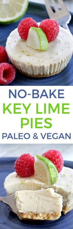 Easy Paleo Vegan No-bake Key Lime Pies (grain-free, gluten-free and dairy-free)