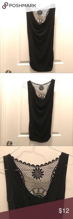 Black Scoop Neck Tank with Crochet Back This black tank is so sexy with the scoop front and back! The crochet detailing just makes the shirt! It's perfect for tucking in and looks great with a high-low skirt. Offers welcome Forever 21 Tops Tank Tops