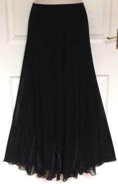 PER UNA Long Black Beaded Sheer Overlay Dressy Flowy Evening Maxi Skirt Size 14 £17.50