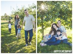family portrait in orchard golden hour  - Seattle Family Apple Picking Photo Shoot - the Happy Film Company