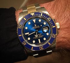 Rolex Submariner two toned Blue SS and YG Sport Watches, Cool Watches, Watches For Men, Luxury Watches, Rolex Watches, Rolex Submariner Blue, Rolex Air King, Rolex Day Date, Rolex Oyster Perpetual